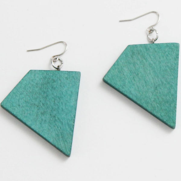 Sylca Designs Earrings, Geometric Dangle, Aqua