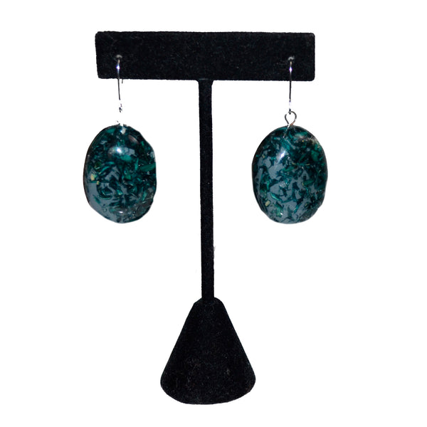 Sylca Designs Earrings, Thea Oval, Green Speckled