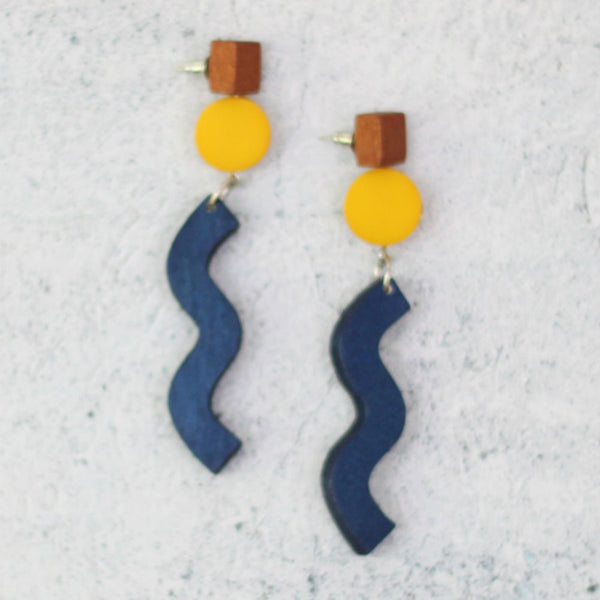 Sylca Designs Earrings, Geometric Wood Dangle, Blue