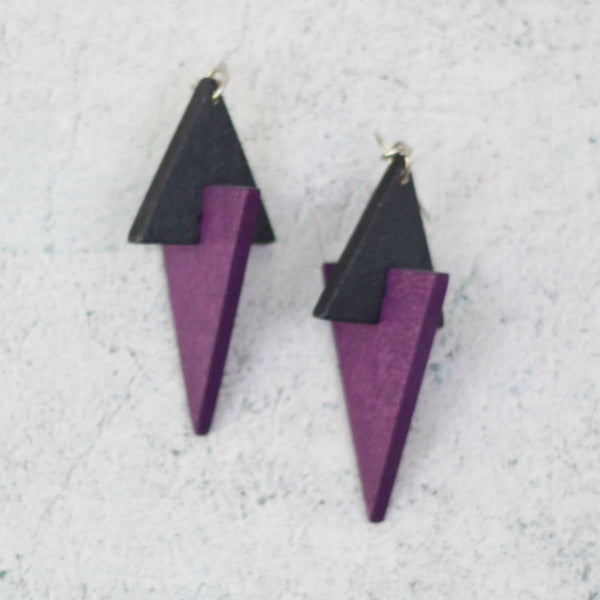 Sylca Designs Earrings, Purple Triangle Wooden Dangle