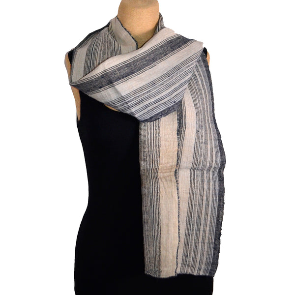 Son Pha Cua, Scarf, Indigo Striped Flax