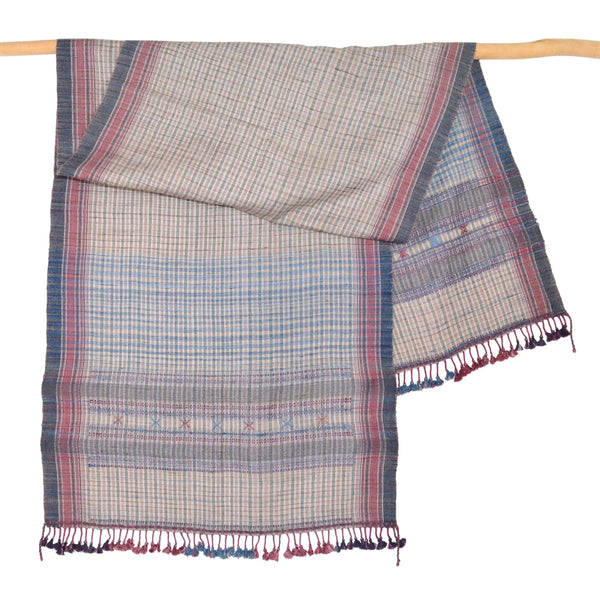 Vankar Vishram Valji Scarf, Red and Blue