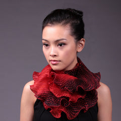 Cathayana Scarf, Silk Shibori Infinity, Red/Black