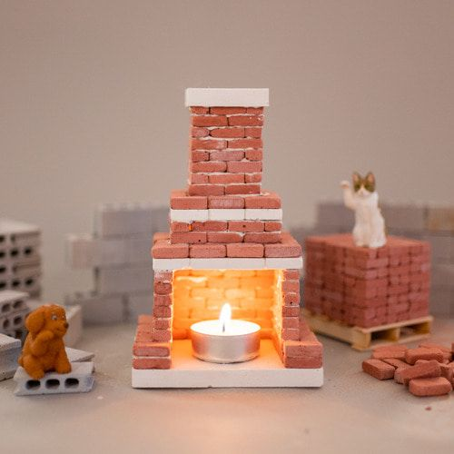 Miniature Brick Fireplace Starter