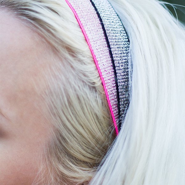 Pink and Black Thick Headbands With Silver Thread