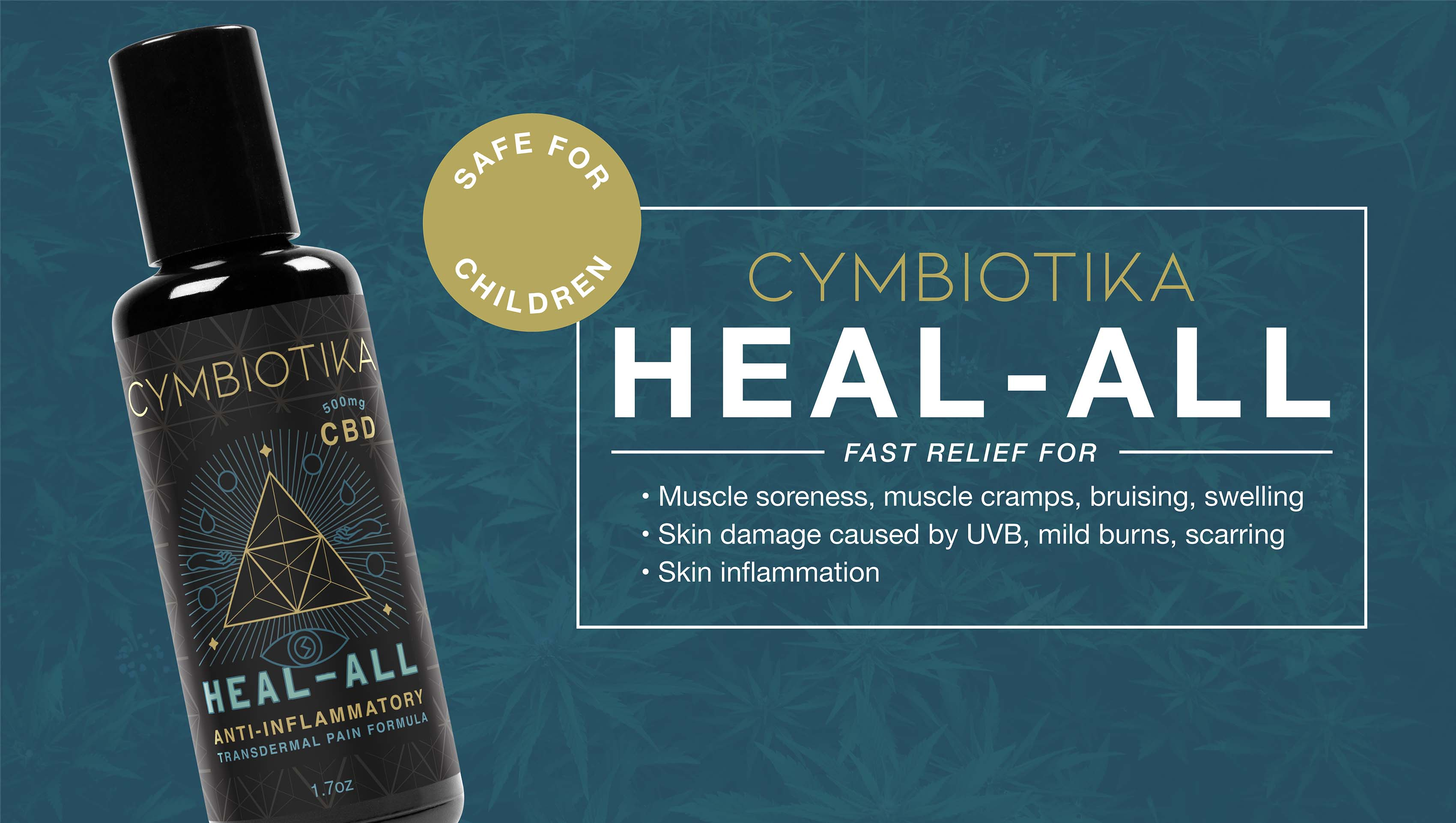 Fast relief for muscle soreness and inflammation, alongside skin damage caused by UVB sun rays and scarring.