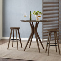 Mimosa Bar Height Table and Stools, Black Walnut