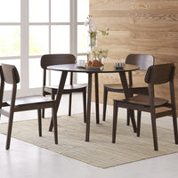 "Currant Round 42"" Dining Table and Chairs, Black Walnut"