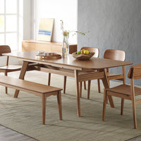 Currant Dining Set with Long Bench, Caramelized