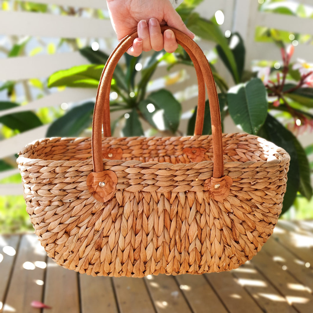 Province Carry Basket w/ Suede Handles