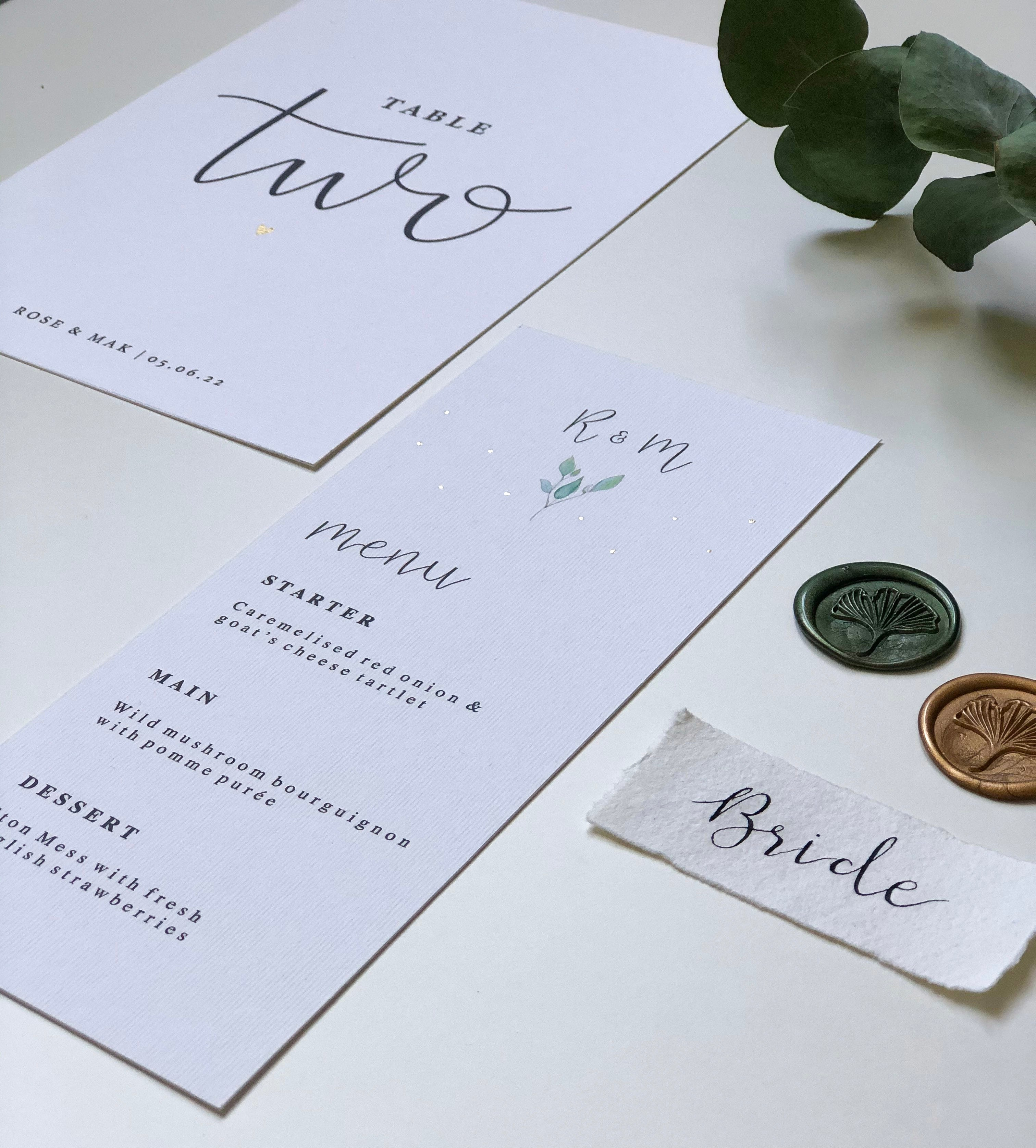 Olive Wedding Collection - Menu + Table Setting + Table Number