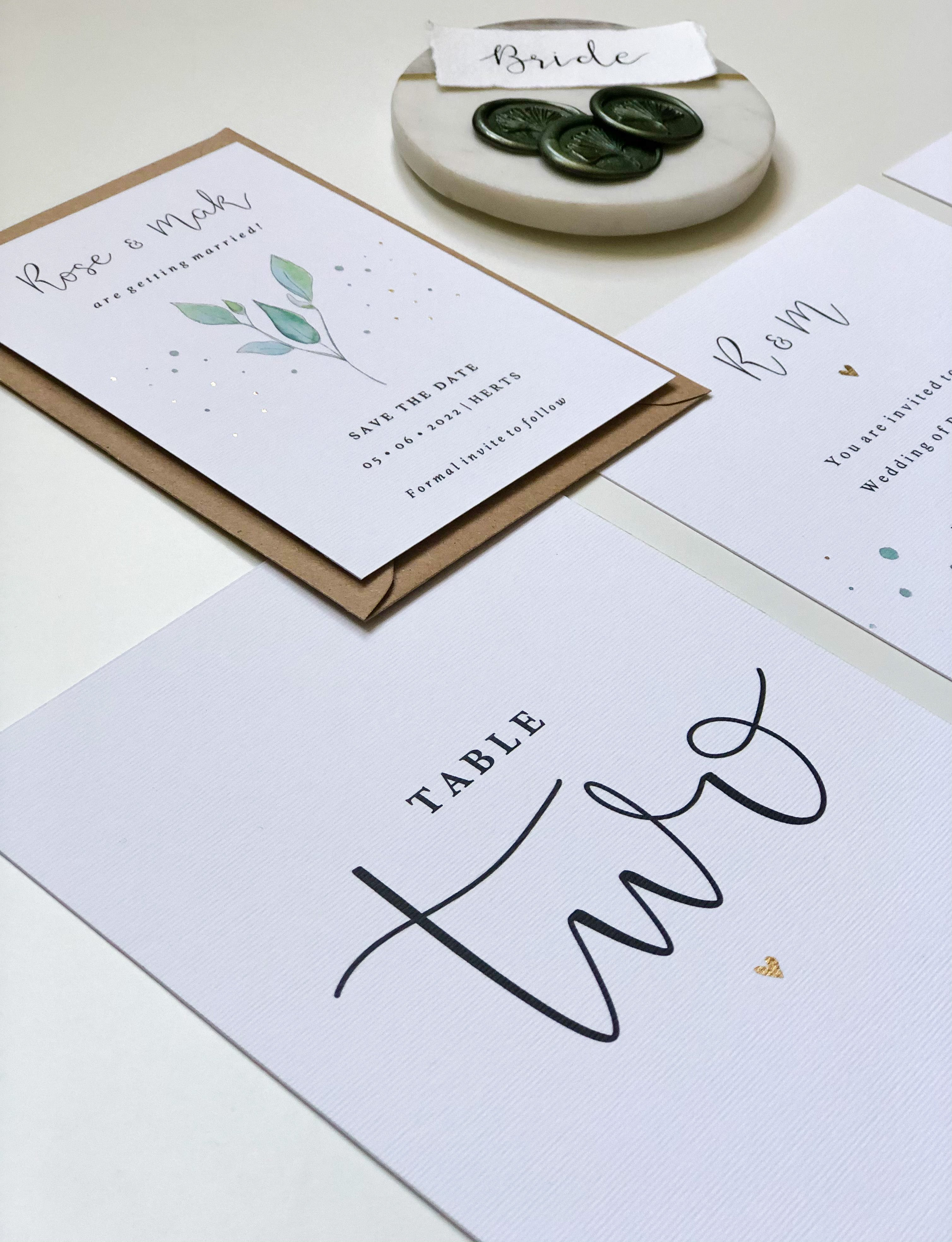 Olive Wedding Collection - Save the Date + Table Number