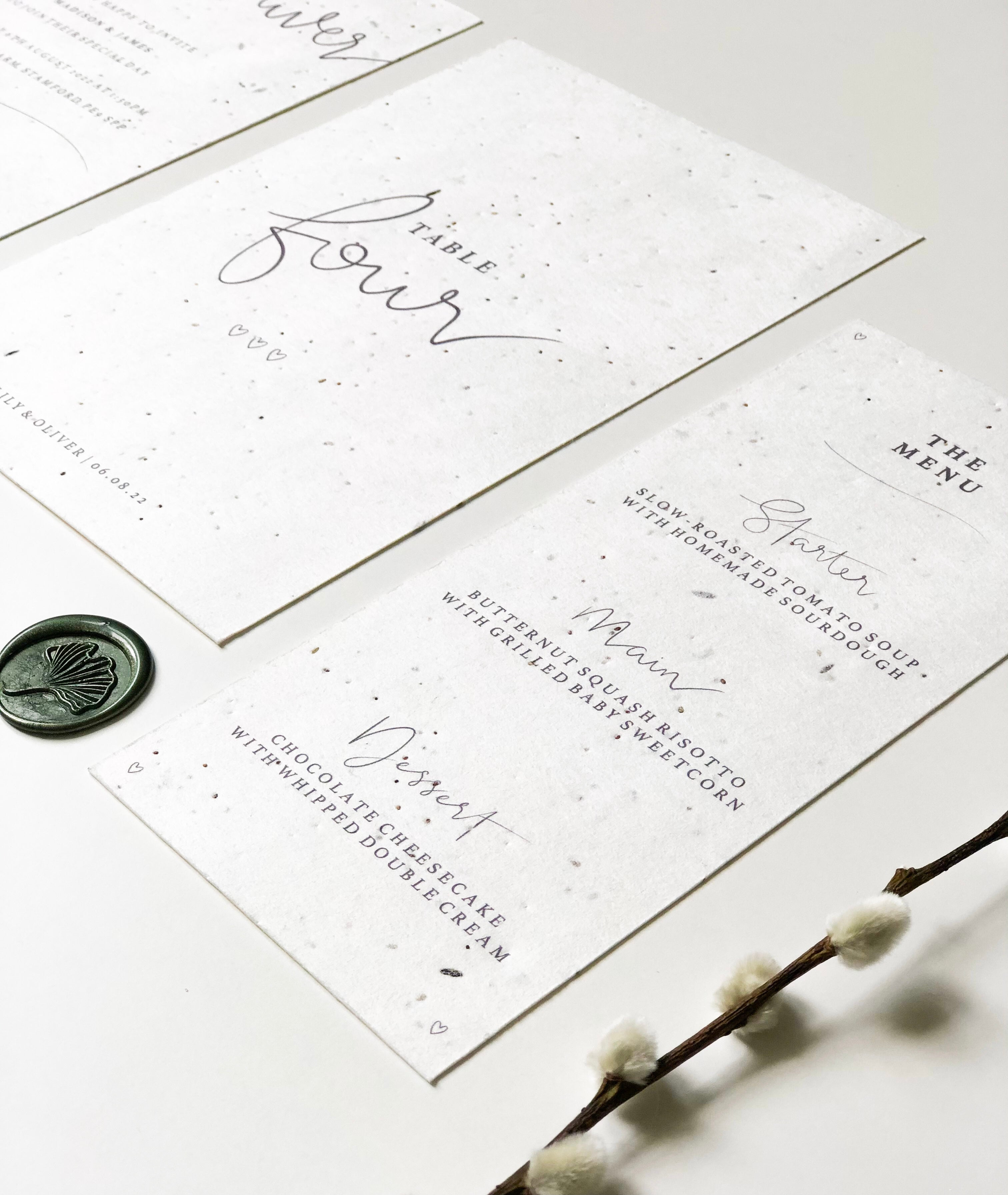 Plantable Wedding Collection - Table Number + Menu