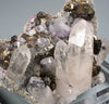 7370 - STANNITE, QUARTZ & FLUORITE on MUSCOVITE