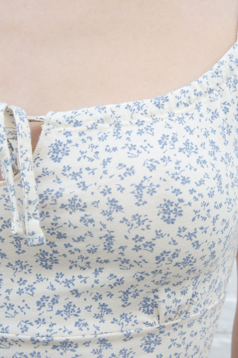 White With Blue Small Flowers / XS/S