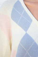 White Pink Blue Argyle / S/M