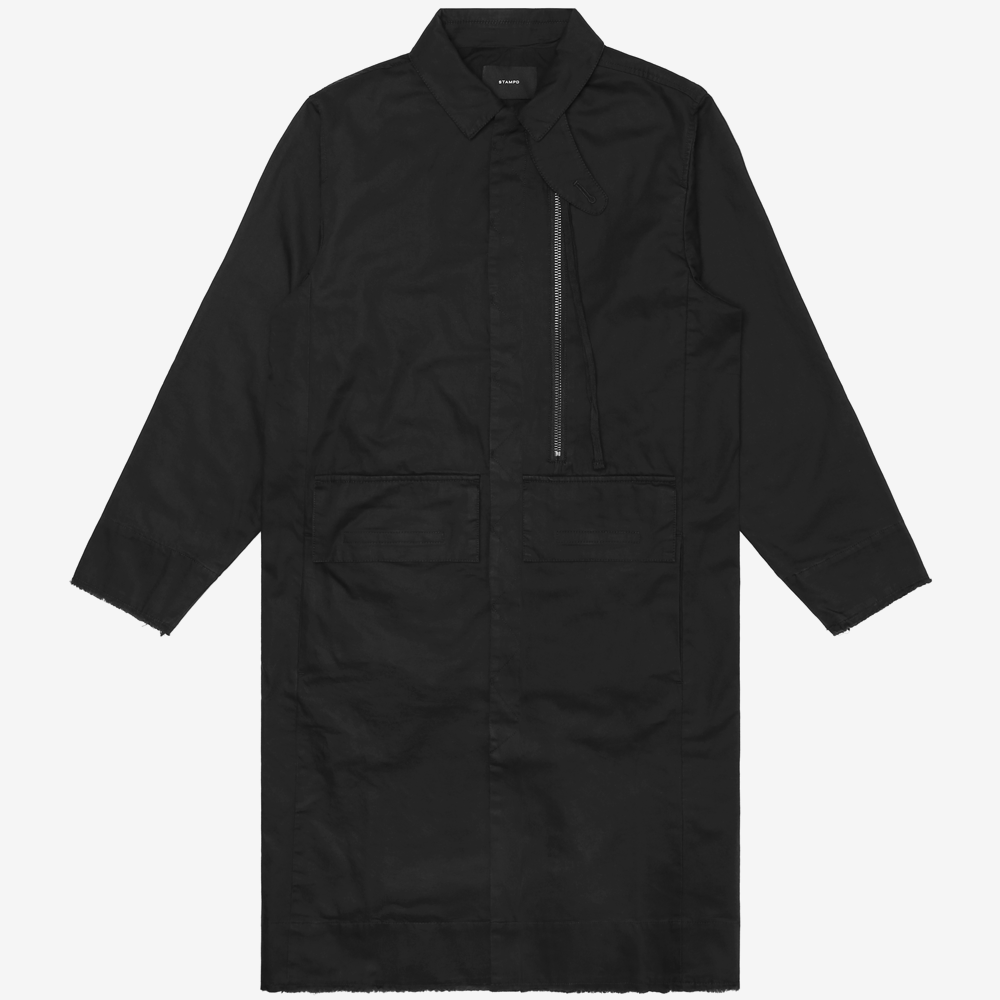 Washed Zipper Trench Jacket