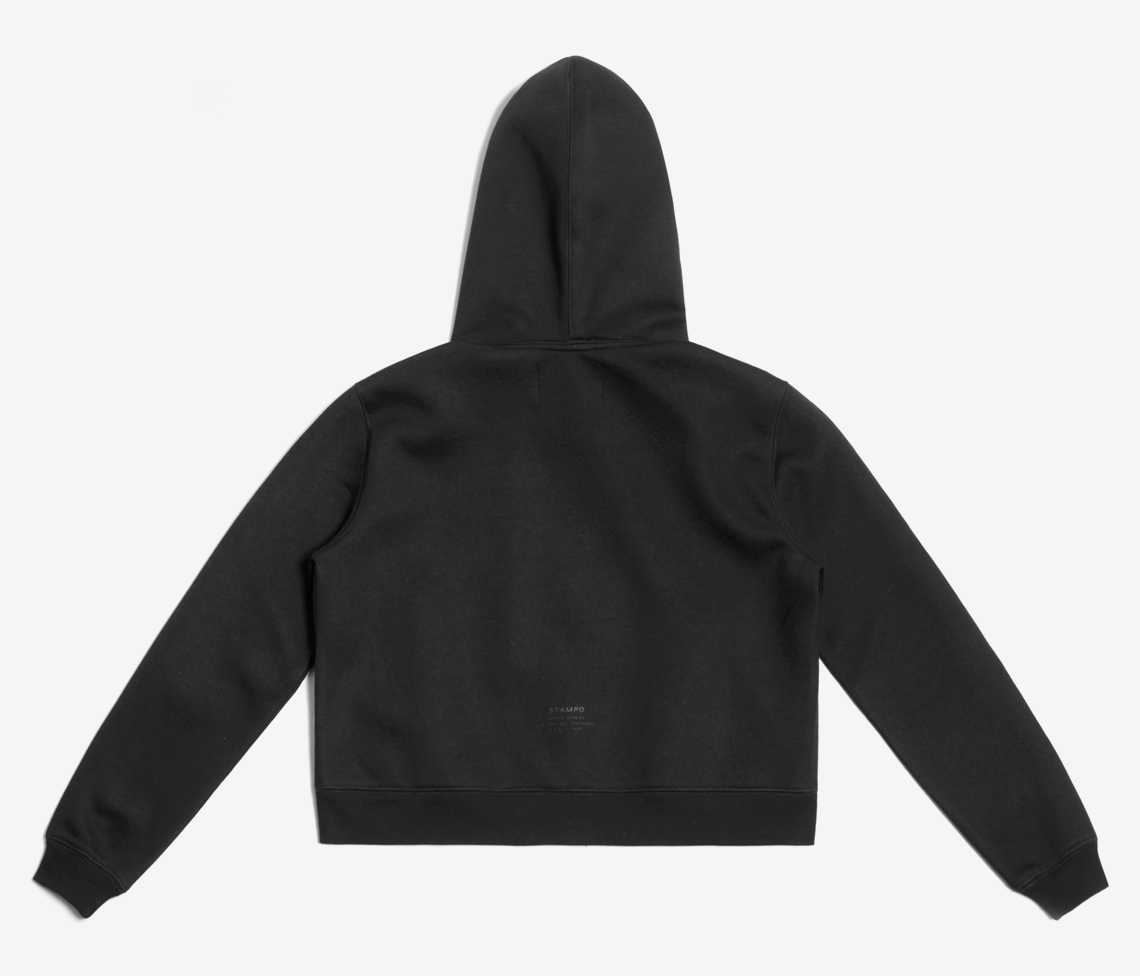 CROPPED NEOPRENE HOODED SWEATSHIRT
