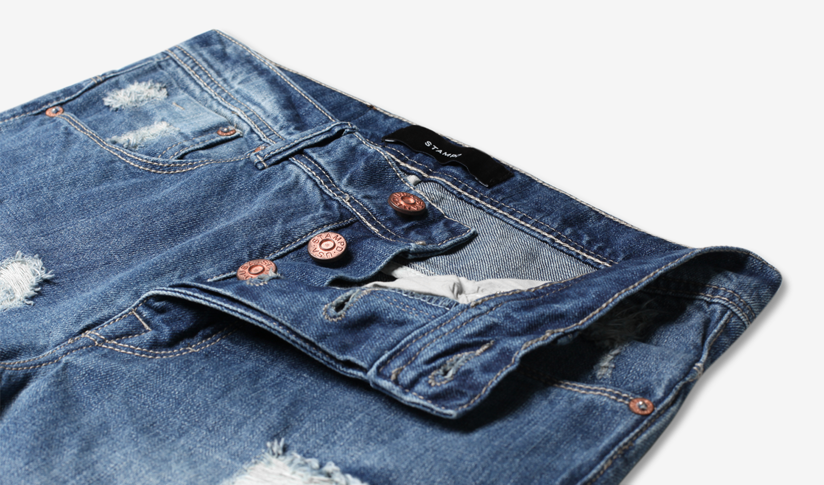Indigo Distressed Essential Denim