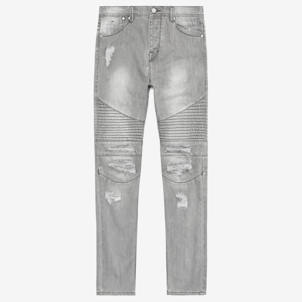 Distressed Moto Denim