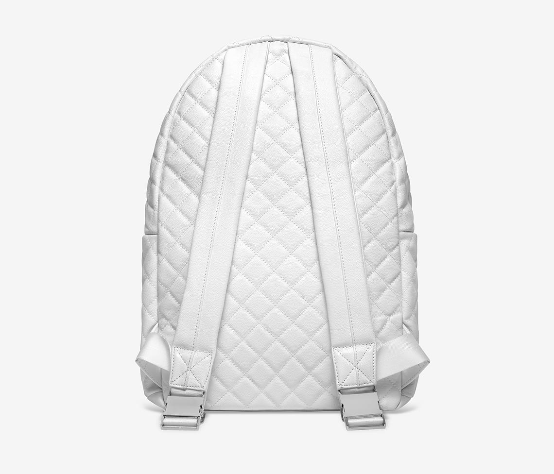 White Quilted Leather Backpack