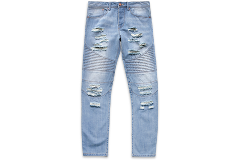 Blue Distressed Moto Denim