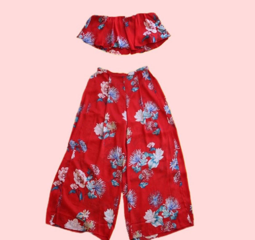 Tropical Crop Top and Pant Set