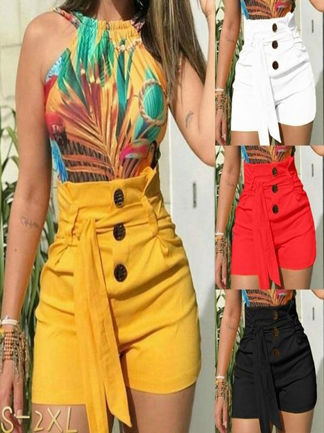 Button High Waist Belted Short