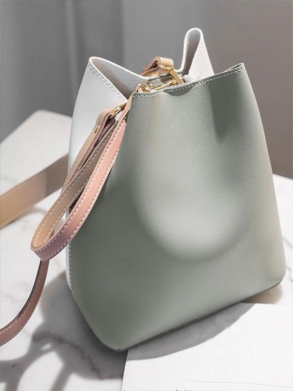 Yoaus Green and White Vegan Leather Wide Strap Bucket Bag Handbags