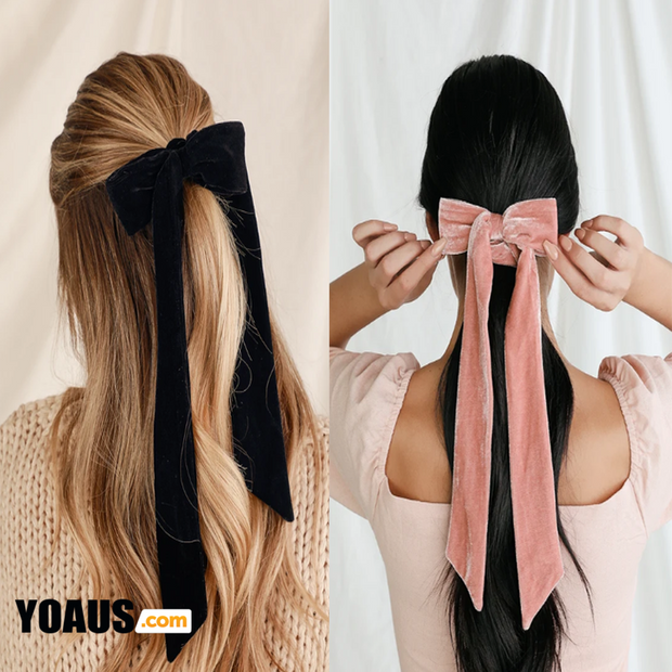 Aditi Black and Blush Pink Velvet Bow Ponytail Holder Set