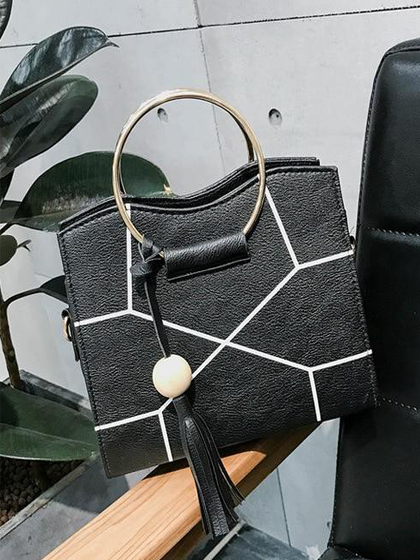 YOAUS Ring Handle Geometric Bag With Tassel
