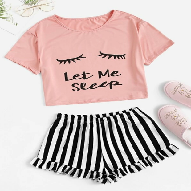 Yoaus Letter and Eye Print Pajama Top Set with Ruched Striped Shorts