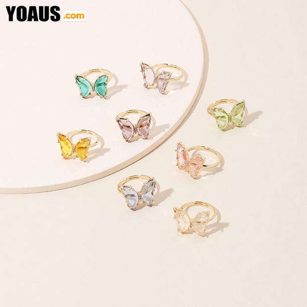 Acrylic Butterfly Color Transparent Ring Trendy Girl Simple Fashion Ring