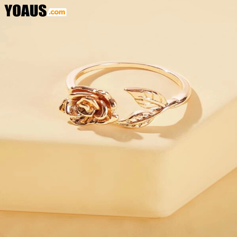 1 piece flower and leaf design ring
