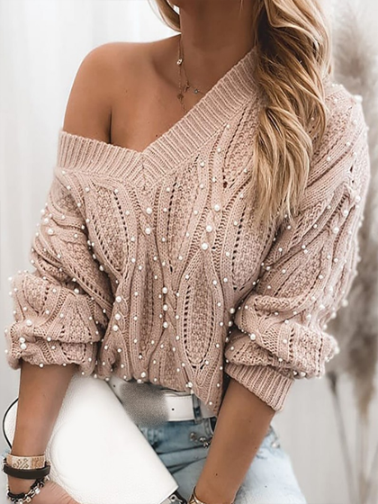 YOAUS Beaded Long Sleeve Cable Knit Sweater