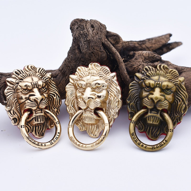 10Pcs/Pack Universal 360° Rotating Finger Ring Stand Holder for Cellphone Mobile Phone, Retro Lion Head Phone Holder