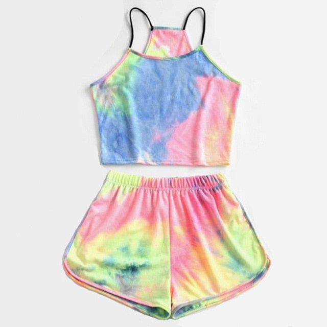 YOAUS Tie Dye Letter Tank Top with Shorts Set
