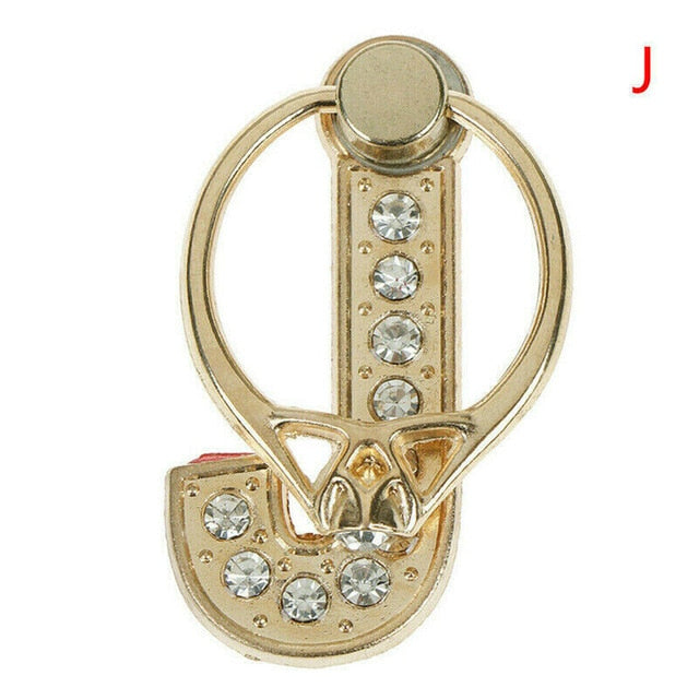 1PC Crystal Diamond Letter Alphabet Phone Holder 360 Rotating Cell Phone Bracket Grip Finger Ring Stand Holder