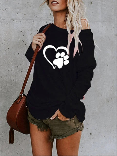YOAUS Paw Heart Print Long Sleeve Casual Sweatshirt