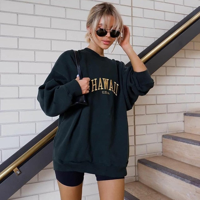 Women's Pullover Sweatshirt Graphic Text Letter Daily Basic Casual Hoodies Sweatshirts Cotton Oversized Black