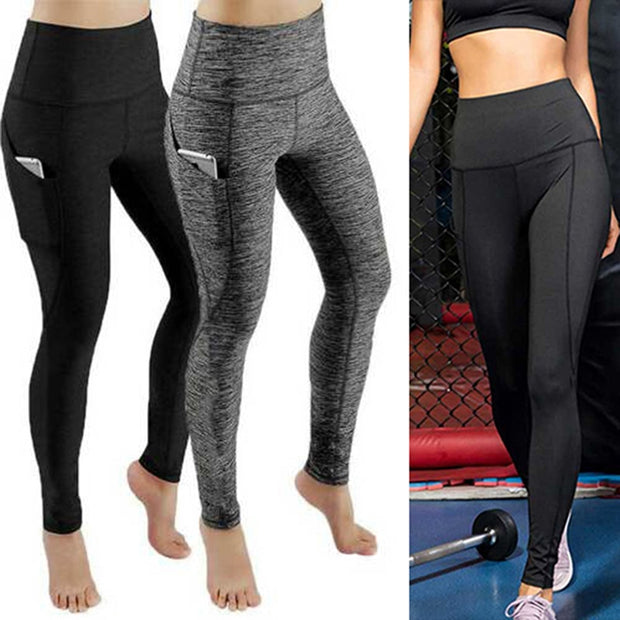 Mesh Panel Sports Leggings With Phone Pocket