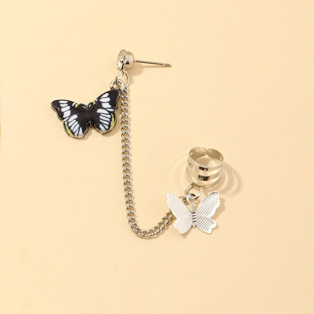 Pearl Butterfly Huggie Earrings