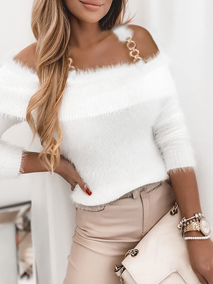 YOAUS Fluffy off shoulder sweater with chain decoration