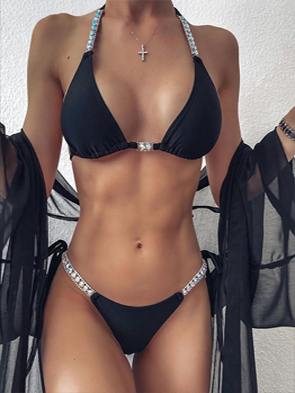 Halter Bikini Set with Tied Rhinestone Details