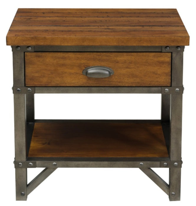 Homelegance Holverson Nightstand in Rustic Brown & Gunmetal 1715-4 image