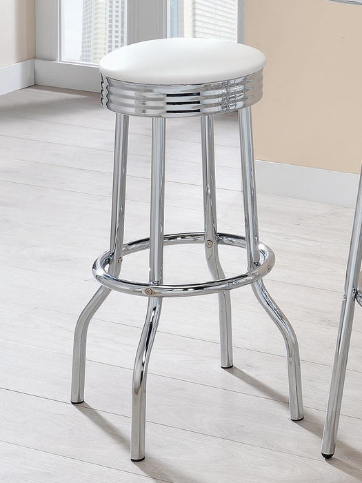 Cleveland Contemporary White Bar-Height Stool image