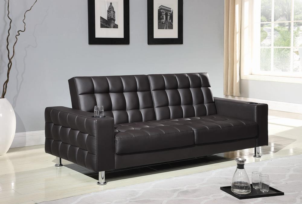 Brown Faux Leather Sofa Bed image