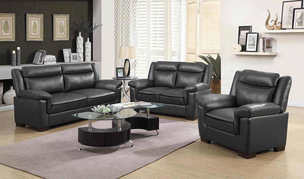 Arabella Brown Faux Leather Three-Piece Living Room Set image