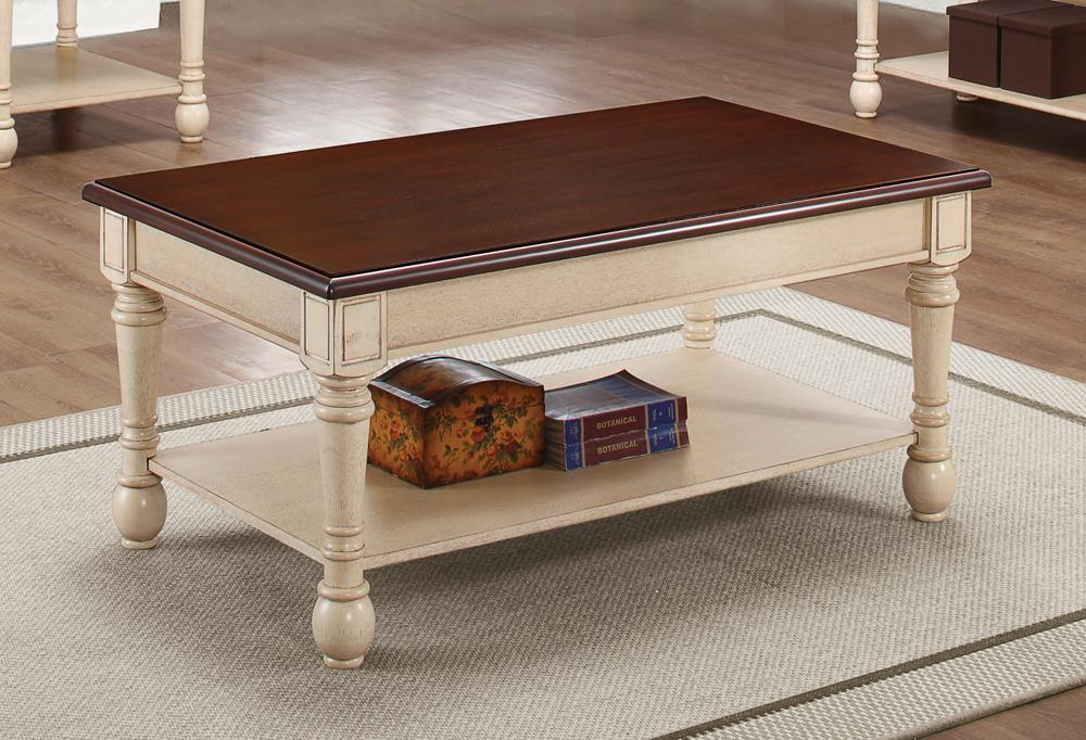 Transitional Dark Brown/Antique White Coffee Table image