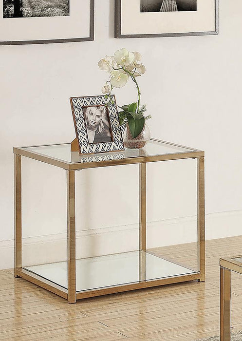 Calantha Modern Chocolate Chrome End Table image
